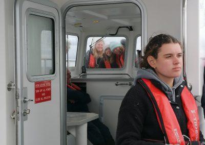 Girls in Window on Boat