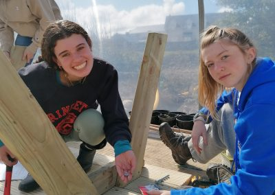 Girls working on Bench