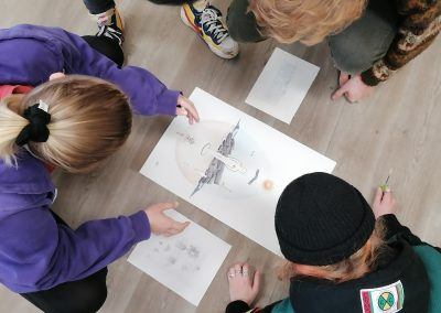 Students reviewing work